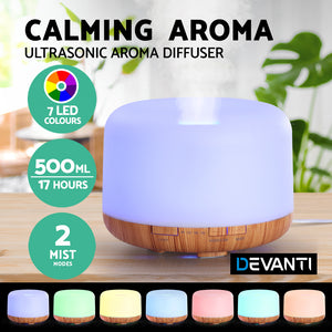 Diffuser Aromatherapy LED Night Light Air Humidifier Purifier Light Wood Grain 500ml