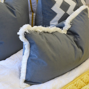 grey velvet fringe rectangle cushion cover display