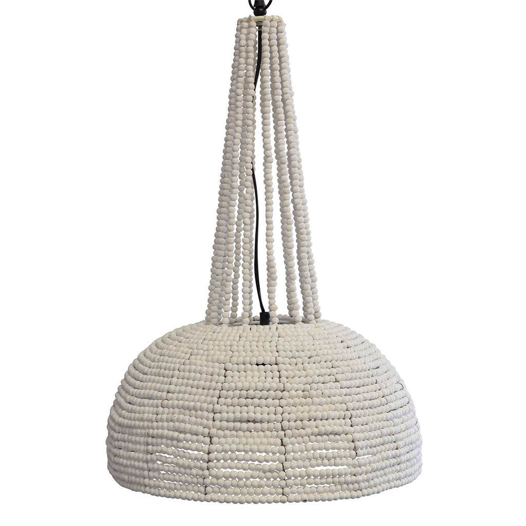 white beaded pendant lighting