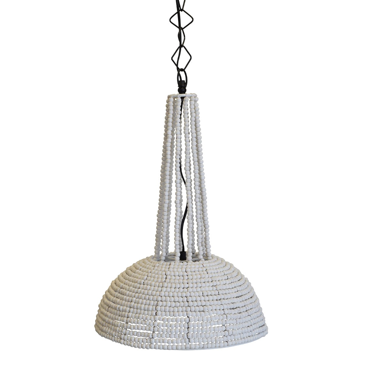 small white beaded pendant light