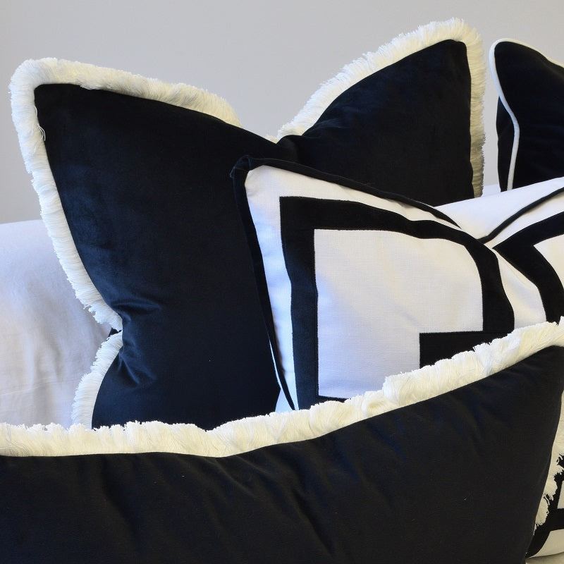 black white fringe cushion cover display