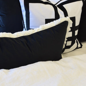 black white fringe rectangle cushion cover