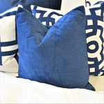 navy brick cushion display