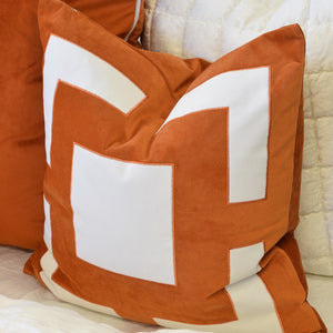 rust velvet cushion display