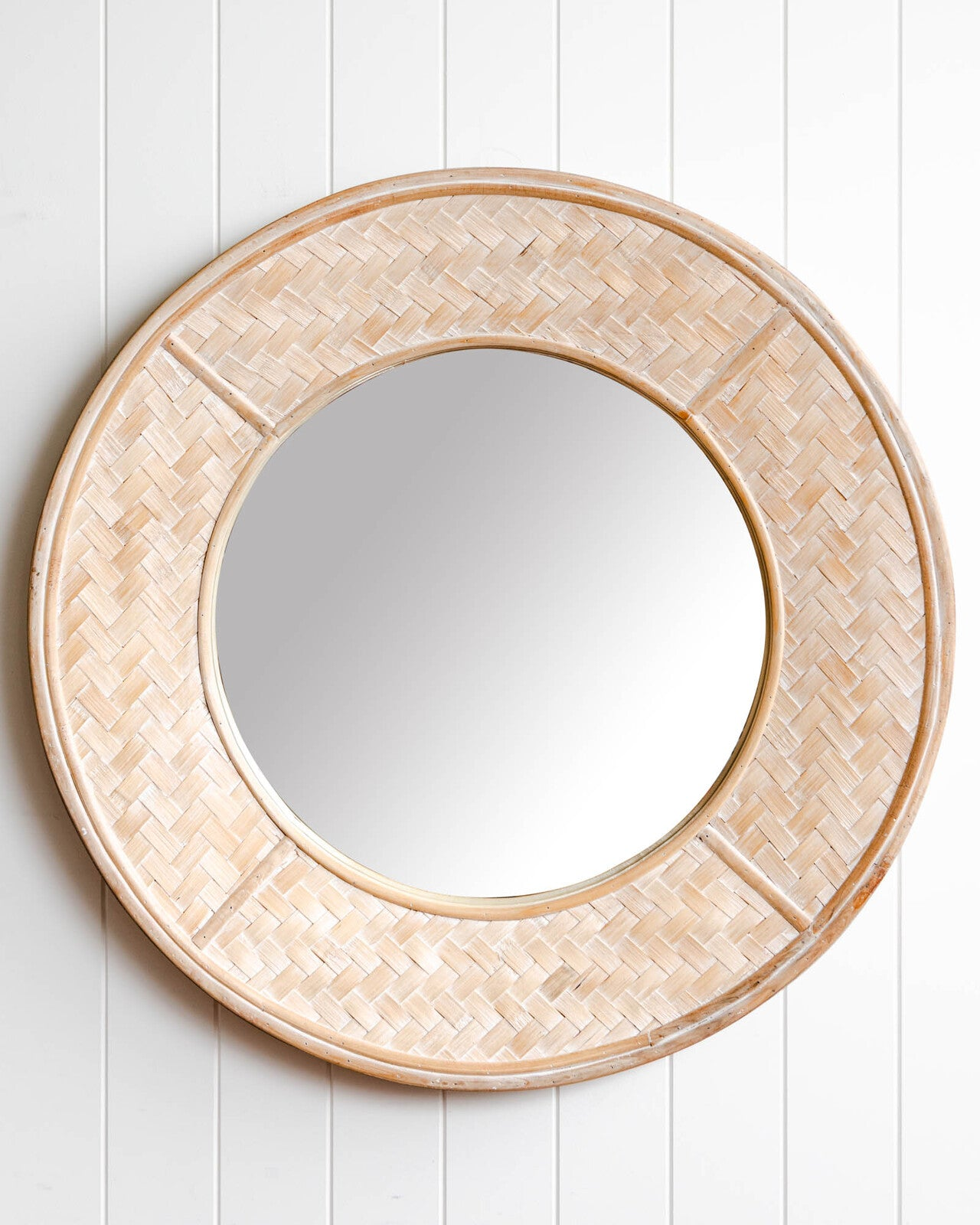 round white washed mirror