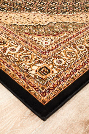 Empire Collection Stunning Formal Oriental Design Black Rug