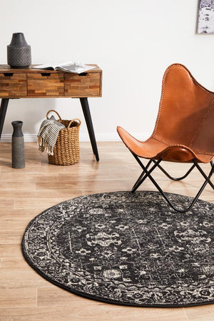 Evoke Estella Charcoal Transitional Round Rug