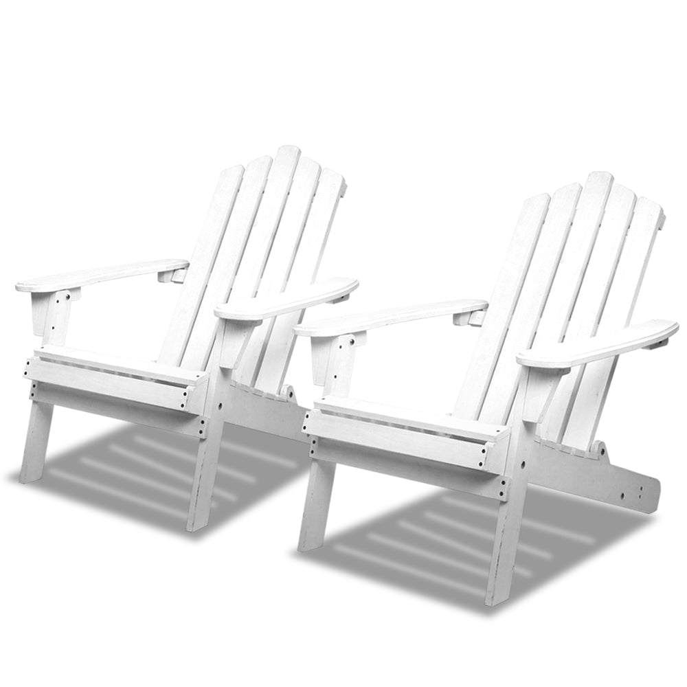 Gardeon Patio Furniture Outdoor Chairs Beach Chair Wooden Adirondack Garden Lounge Recliner 2PC White