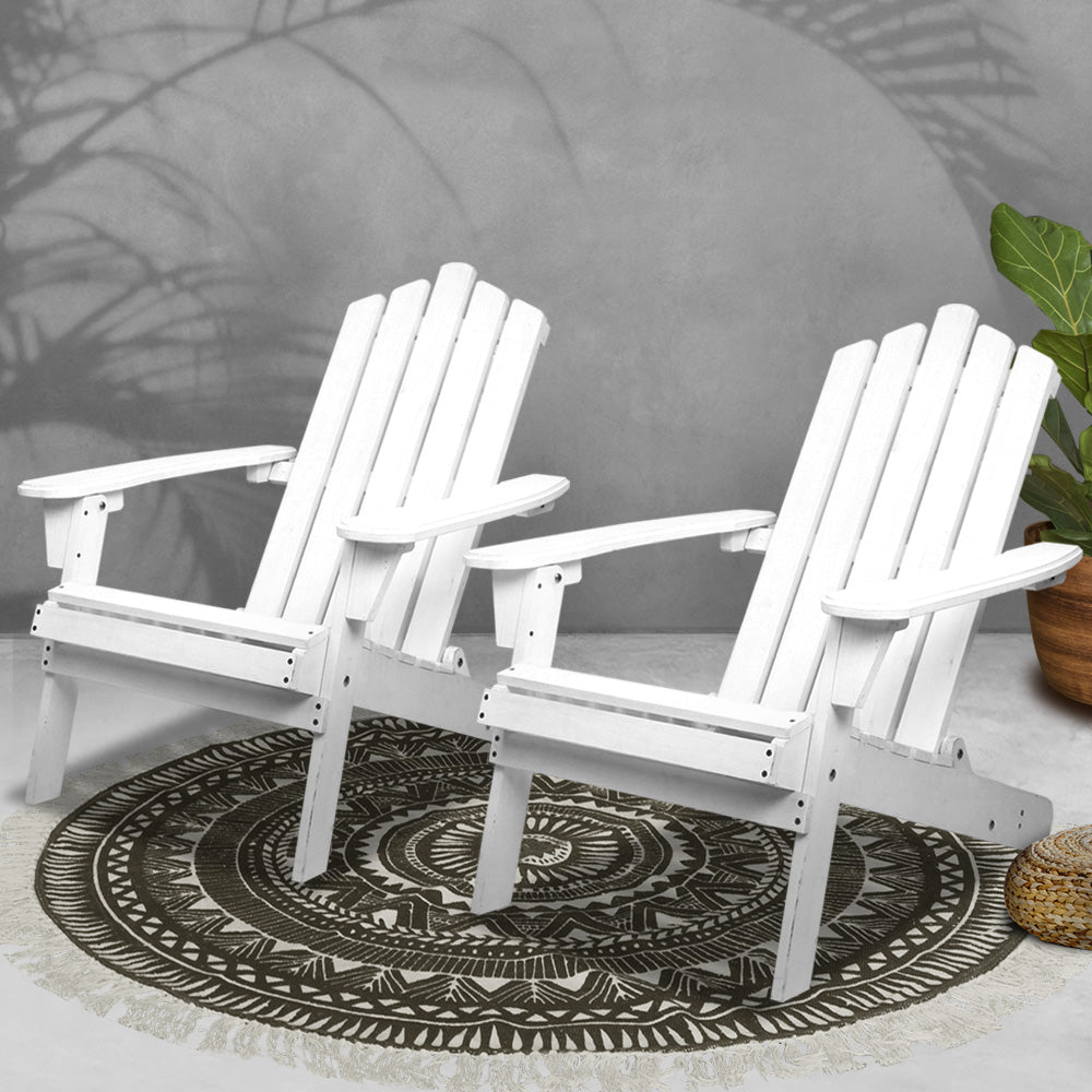 Outdoor  Beach Chairs Wooden Adirondack 2PC White