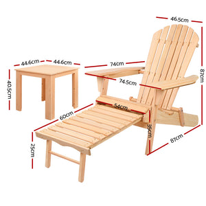 3 Piece Outdoor Beach Chair and Table Set