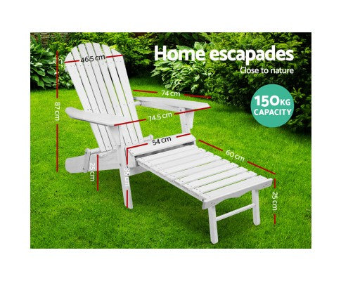 Adirondack Lounge Beach Chair Set - White