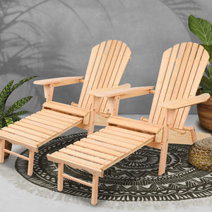 Outdoor Sun Beach Chair Lounger Set of 2