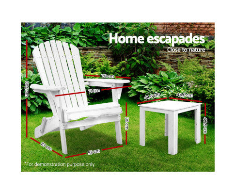 Outdoor Chairs Table Set Beach Chair Adirondack White