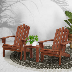 Outdoor Adirondack Sun Chairs Table Setting Wooden Brown
