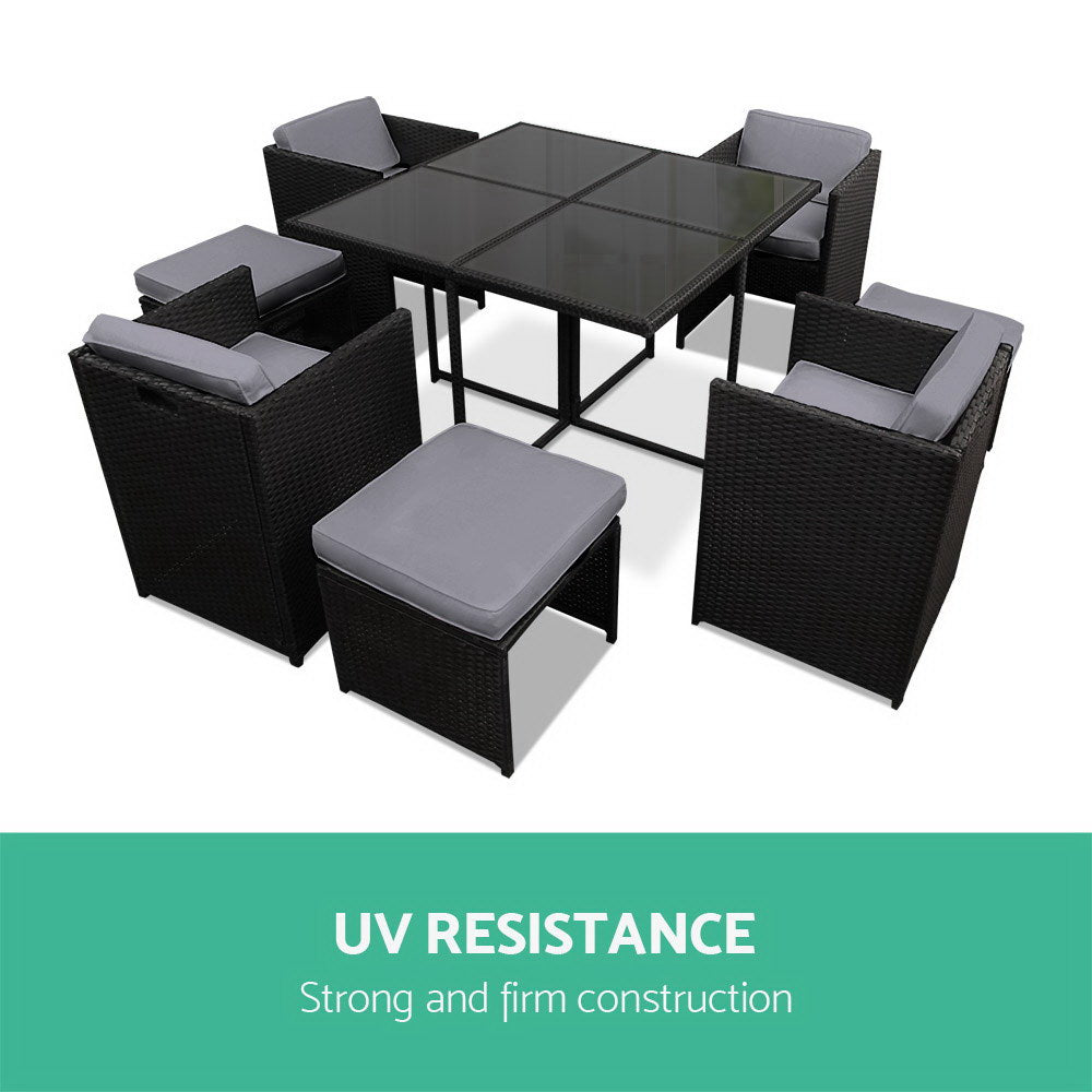 Wicker Outdoor Dining Set - Black & Grey