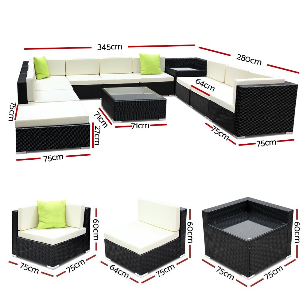 12PC Outdoor Wicker Sofa Set
