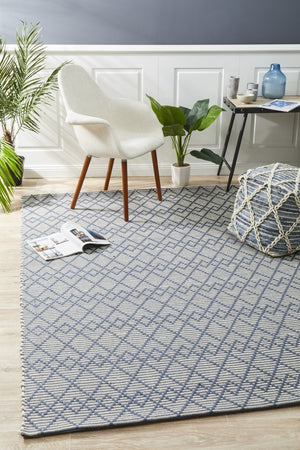 Deepa Stunning Wool Rug Denim Bone