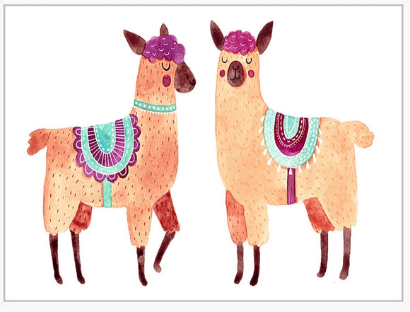 two llamas, framed canvas print