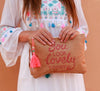 you look lovely today straw clutch