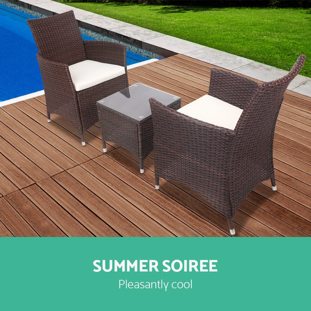 3 Piece Wicker Outdoor Set - Brown