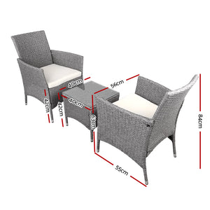 3 Piece Wicker Outdoor Chair Table Set - Grey