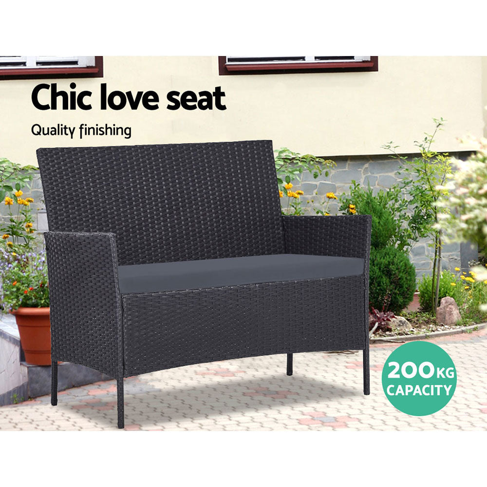 Outdoor  Wicker Set Chairs + Table Dark Grey 4pc
