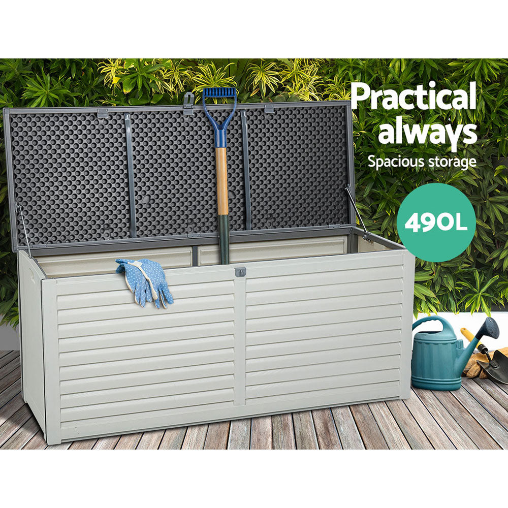 Gardeon 490L Outdoor Storage Box Bench Seat Toy Tool Sheds Chest