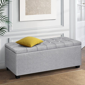 Storage Ottoman Fabric Foot Stool Grey