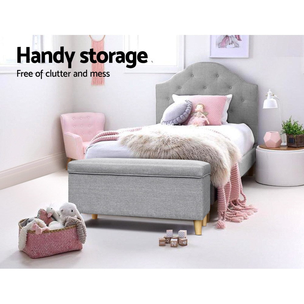 Kids  Storage Ottoman Foot Stool Light Grey