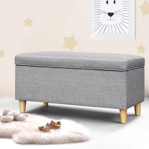 Kids Foot Stool Blanket Box Grey