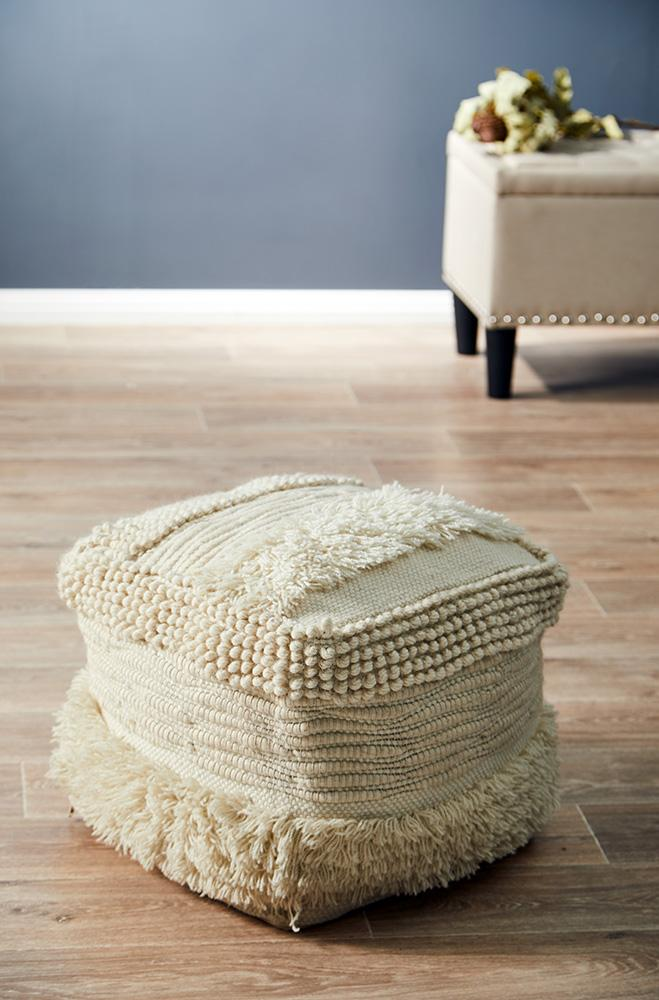 Rug Culture Home 502 Ivory Ottoman