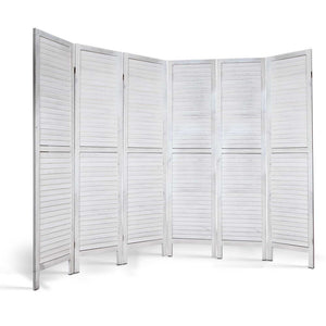 6 Panel Room Divider Privacy Screen Foldable Wood Stand White