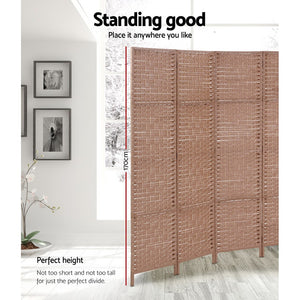 6 Panel Privacy Rattan Foldable Dividers Hand Woven