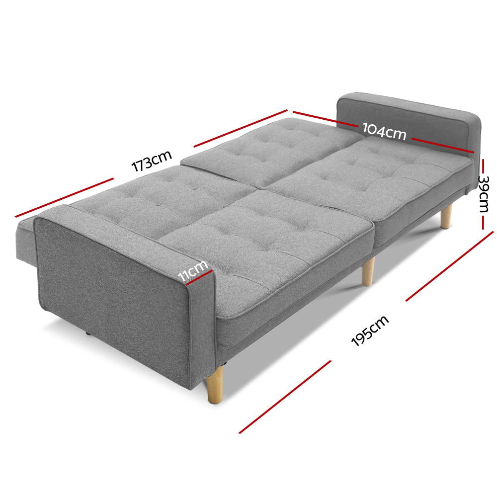 3 Seater Sofa Bed Grey