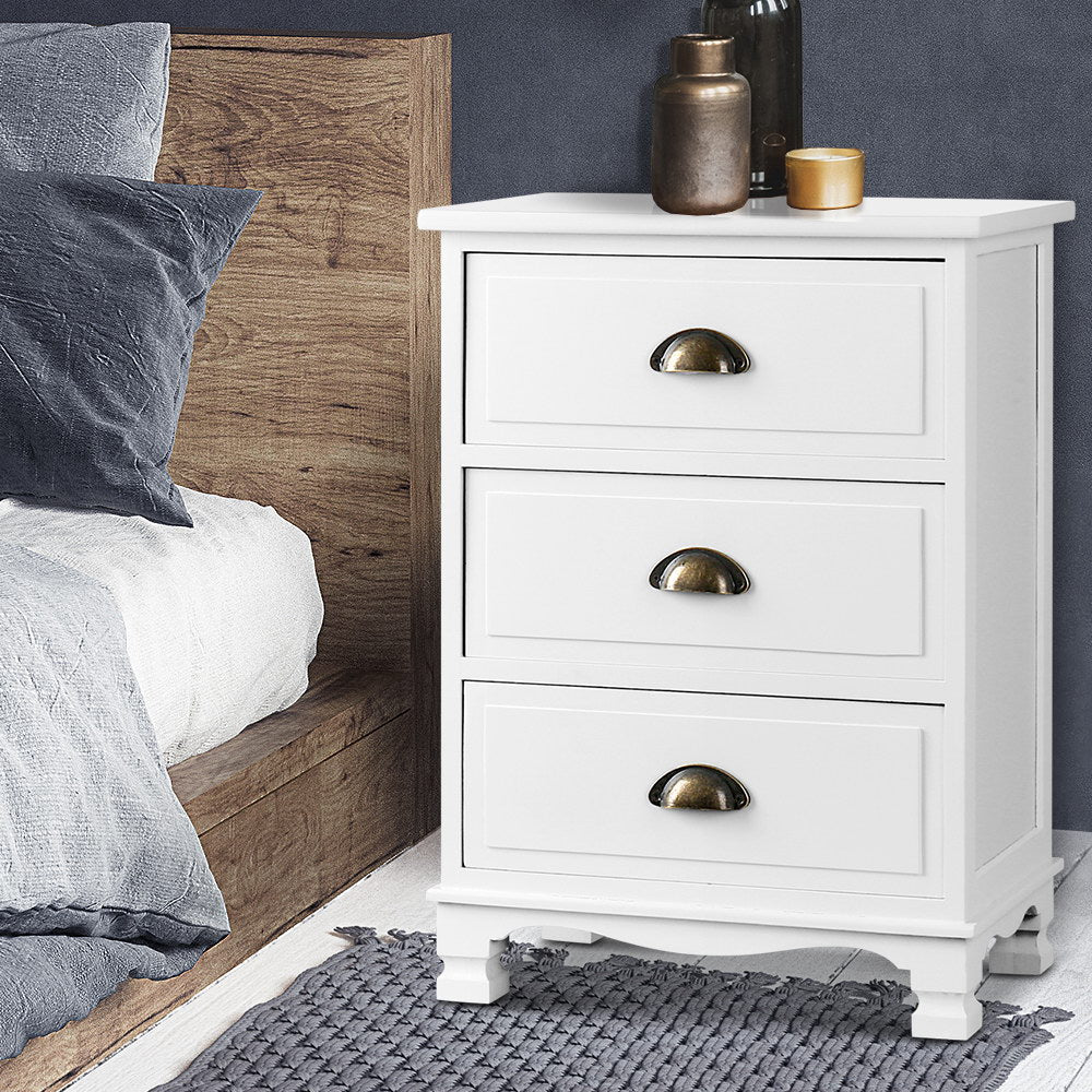 Vintage Style Bedside Table White