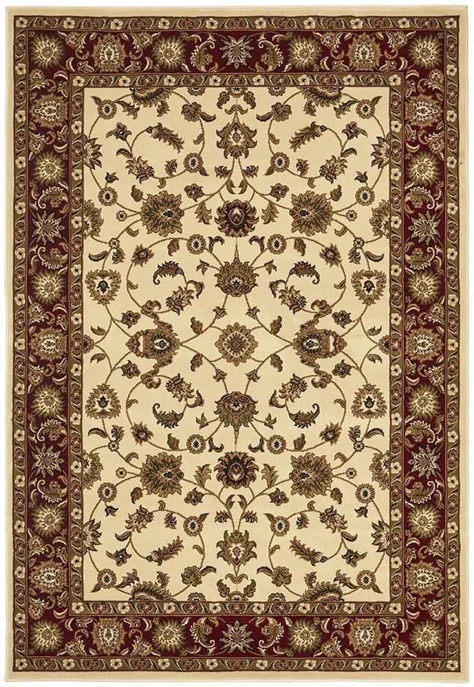 Sydney Collection Classic Rug Ivory With Red Border