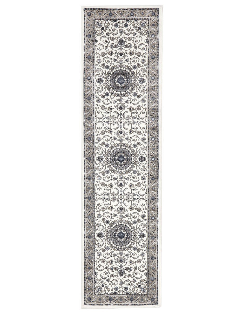 Sydney Medallion Runner White With Beige Border Runner Rug