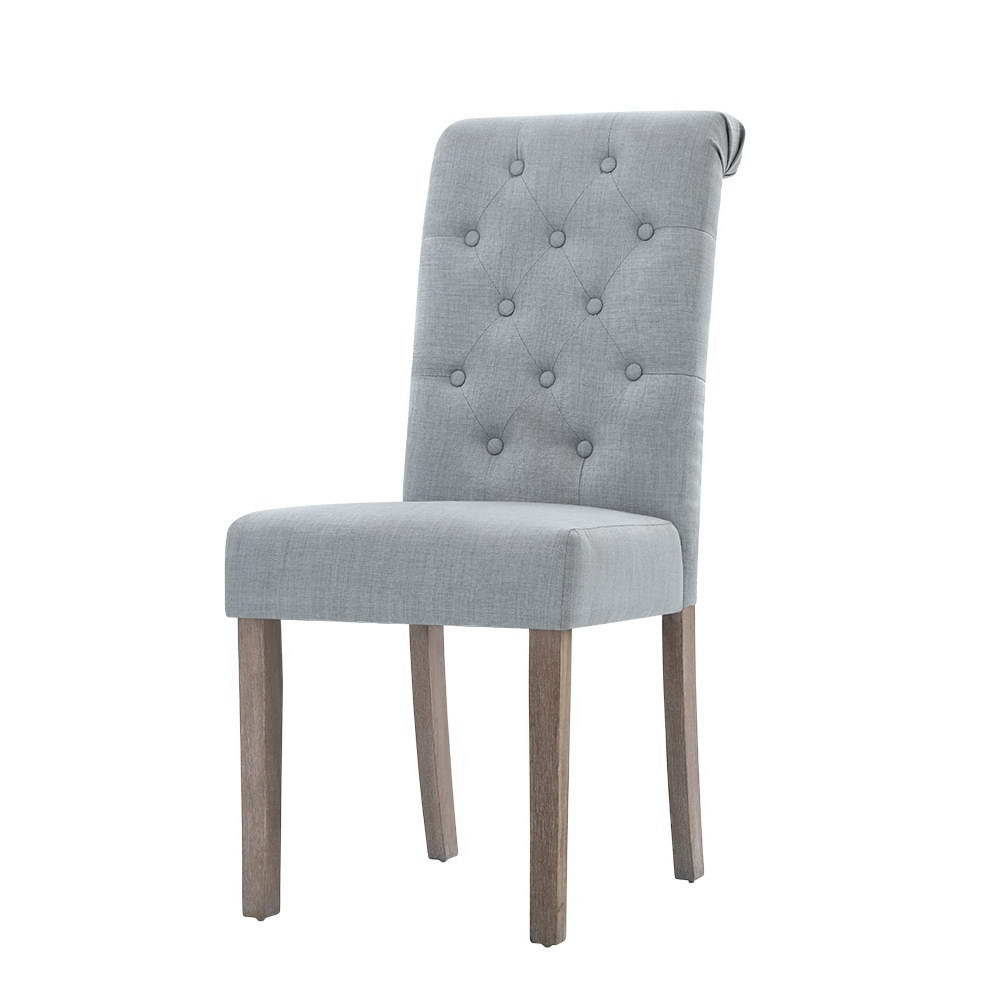 Artiss 2x Dining Chairs French Provincial Kitchen Cafe Fabric Padded High Back Pine Wood Light Grey