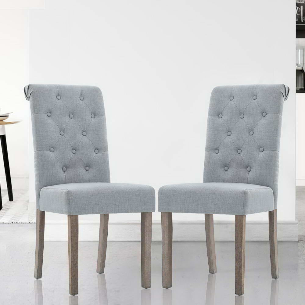 2x Dining Chairs French Provincial Light Grey
