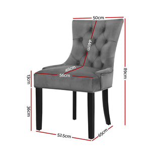 2x Dining Chairs French Provincial Velvet Fabric Grey