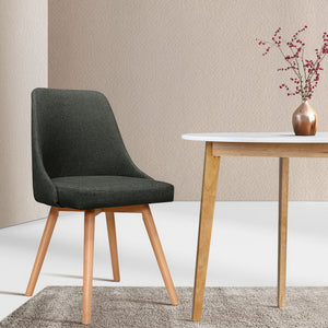 Charcoal Retro Dining Chair x2