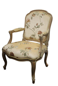 Wash White Louis XV Chair With Flower Fabric