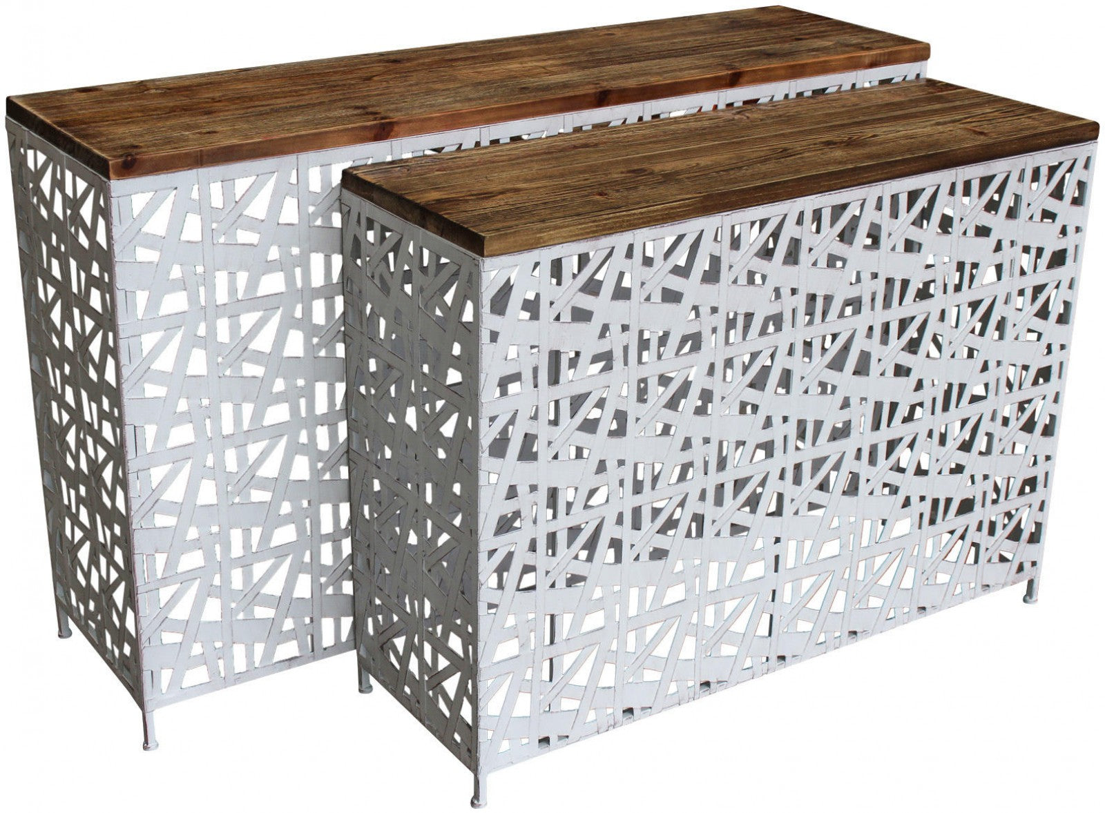 Metal Console Set of 2 - White