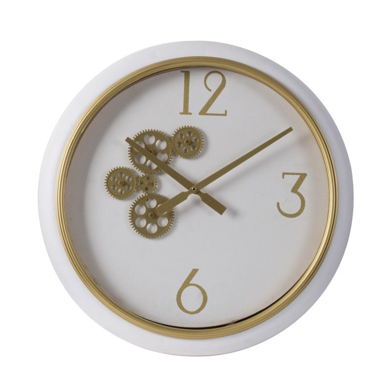 Gear Clock In White And Gold 40x6x40