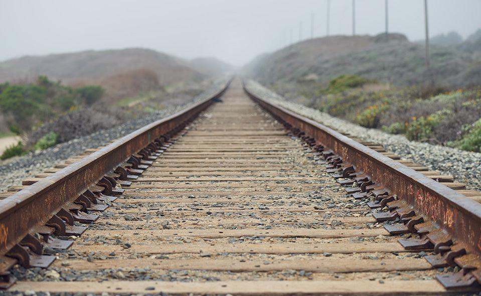 Empty train tracks in the wilds of California