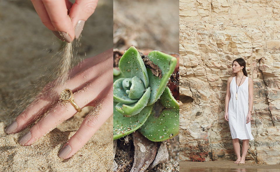 A triptych of images: a hand pouring sand over a Bowl Ring, a succulent plant, and a woman leaning against a sandstone wall wearing the Mudstone Necklace.