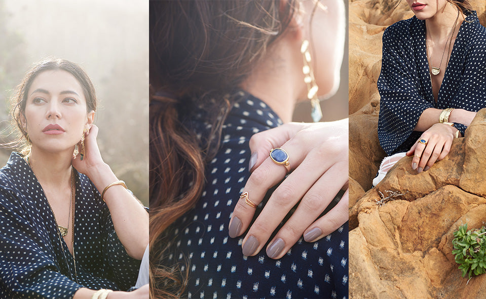 A triptych of images: A woman in sunlight wearing the Bixby Pendant and a Cuff, a hand on a shoulder wearing a lapis ring, and a woman sitting among red rocks.