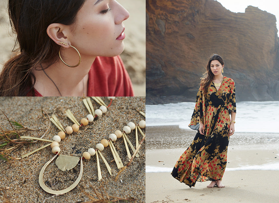 A triptych of images: A woman's ear, the El Sur Grande Necklace laying in the sand, and a woman walking down a windswept beach.