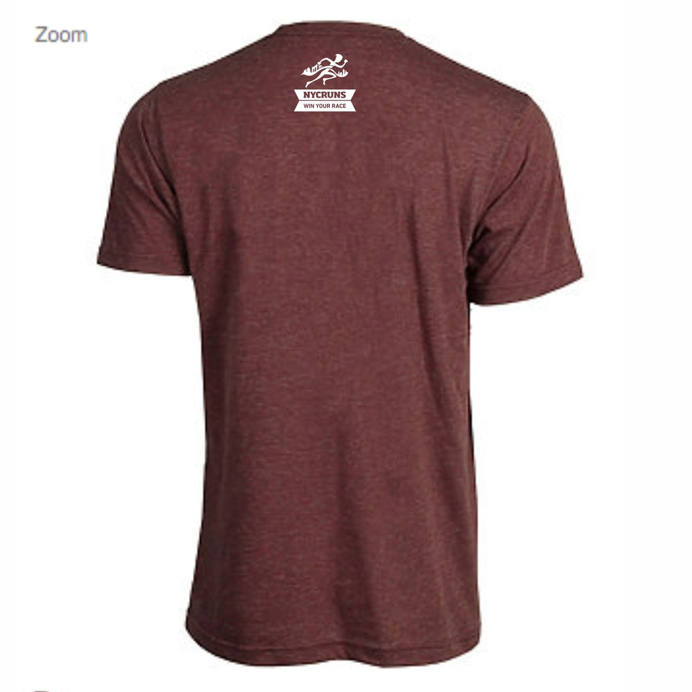 Men's SS Jersey Tee - Heather Burgundy 'Collegiate Design' - Brooklyn Marathon