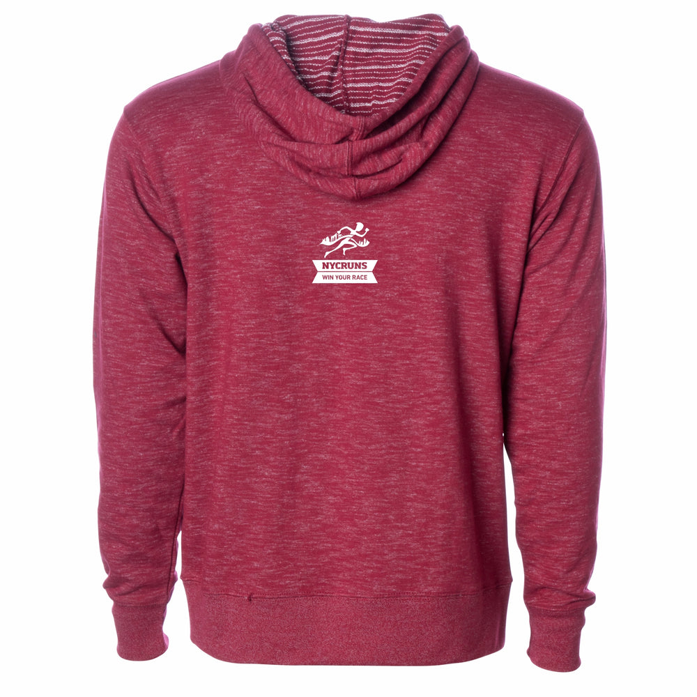 Men's French Terry Hoody - Rojo Cardenal 'Collegiate Design' - Brooklyn Marathon